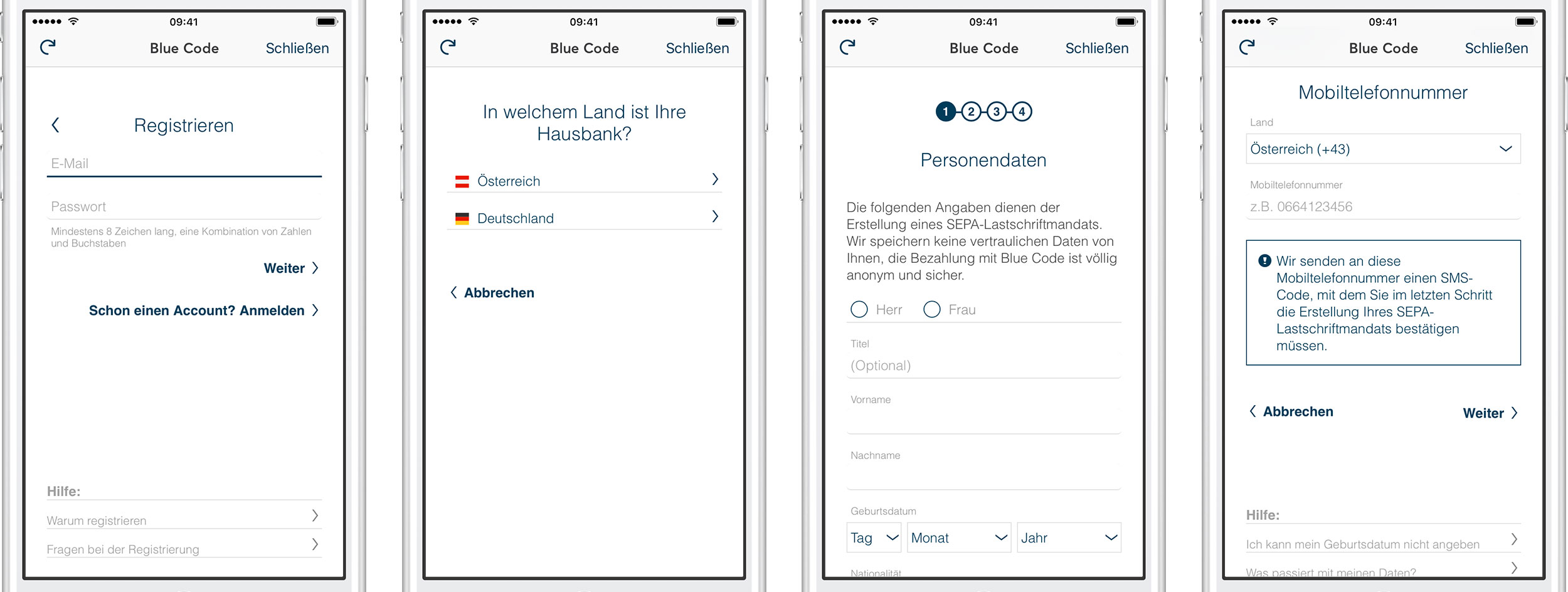Blue Code Account einrichten in mobile-pocket