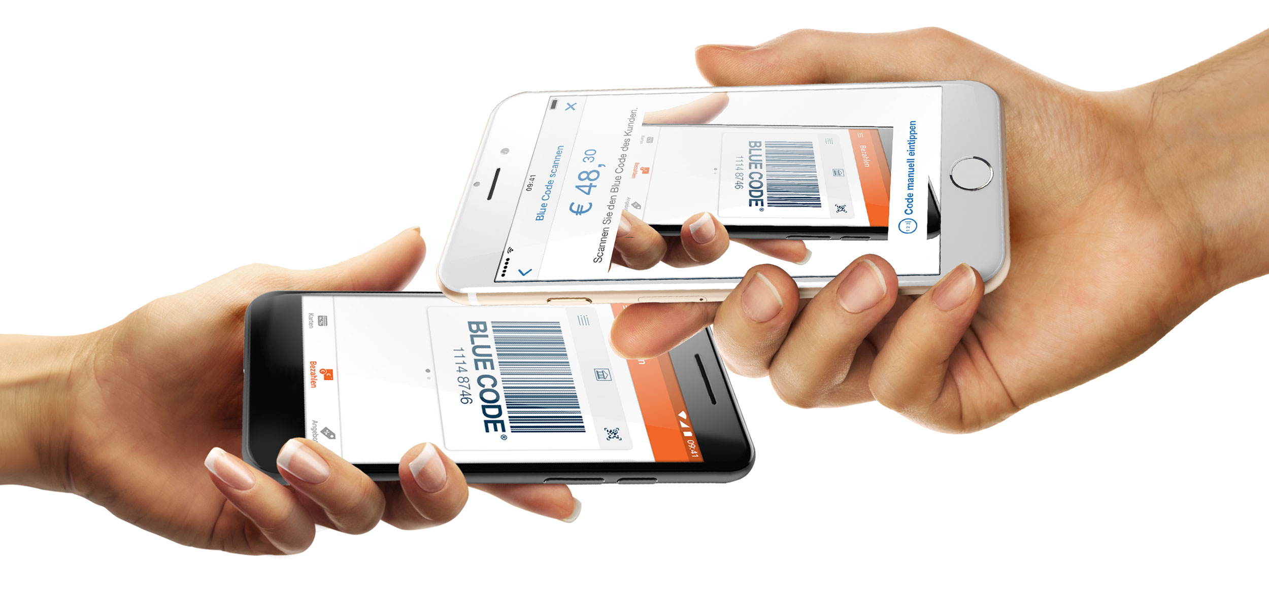 Blue Code Bezahl-Scan in mobile-pocket