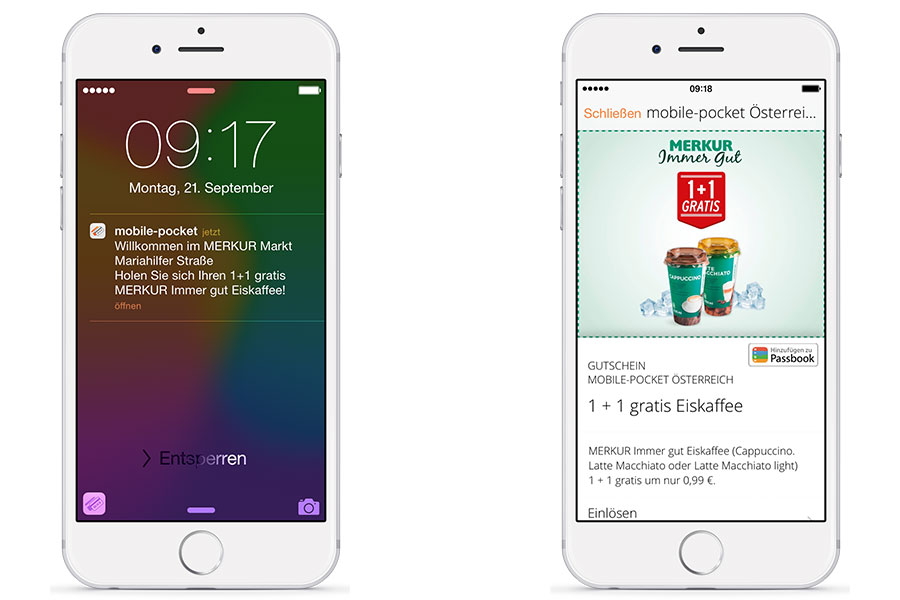 iPhone Screens mit Merkur Markt Beacon Push Nachricht
